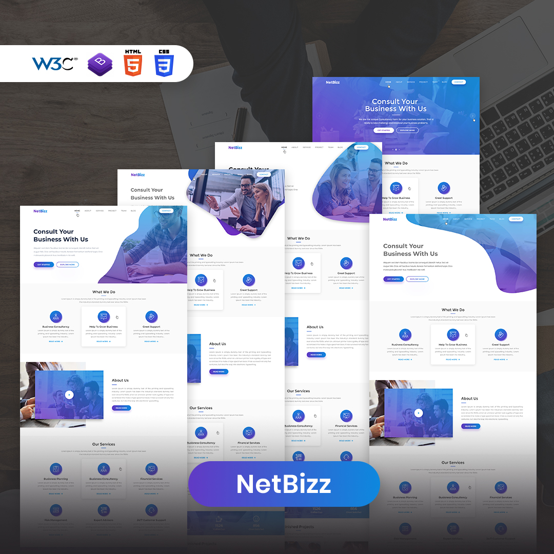 Netbizz - Corporate and business multipurpose HTML templates